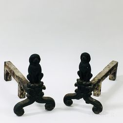 Pair of Cast Iron Dog-form Andirons